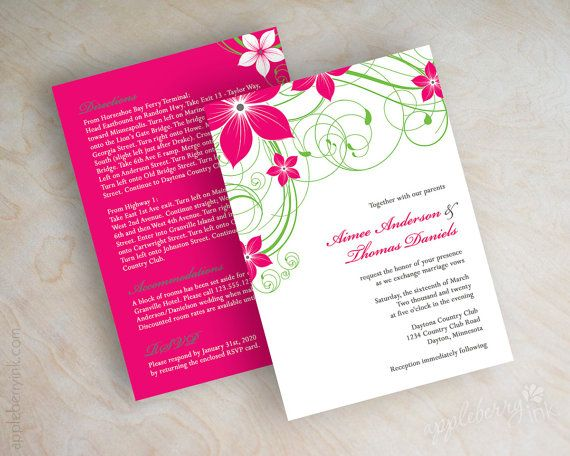 Fuchsia Wedding Invitation Swirly Vines Spring