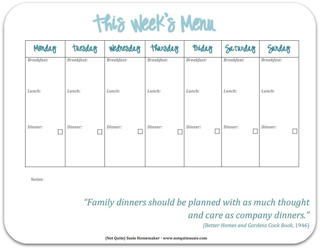Free Printable Weekly Meal Planner  Weekly Meals Meals And Menu