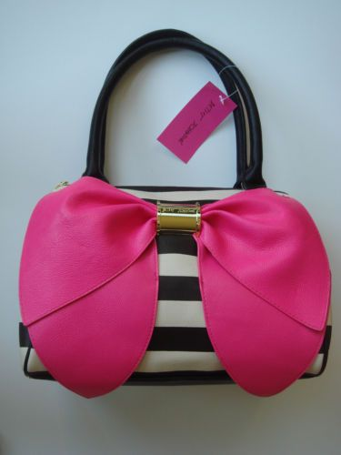e6717aff1921 Betsey Johnson Bow Nanza Black White Stripe Pink Bow Purse Handbag-THIS BAG  IS MY BAG BABY