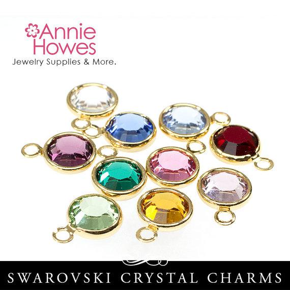 Birthstone Charm Pack 12 Swarovski Birthstone Charms Gold Plated Crystal Charms 6mm 1128 Ss29 12 Birthstone Charms Swarovski Crystals Crystal Charm