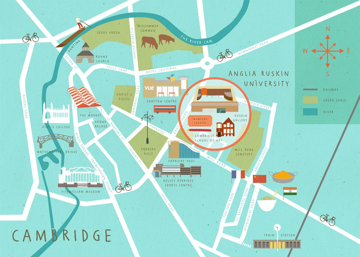 Map Of Cambridge Cambridge Map Illustrated Map Map Design