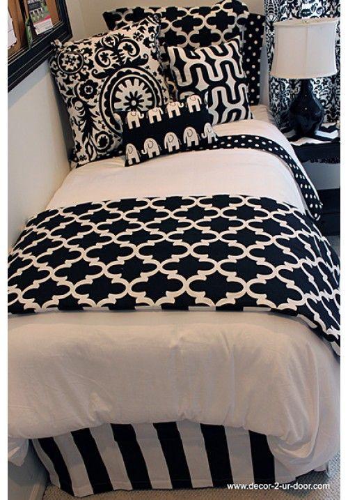 Captivating DECOR 2 UR DOOR Back To Basics Black U0026 White Designer Teen U0026 Dorm Bed In
