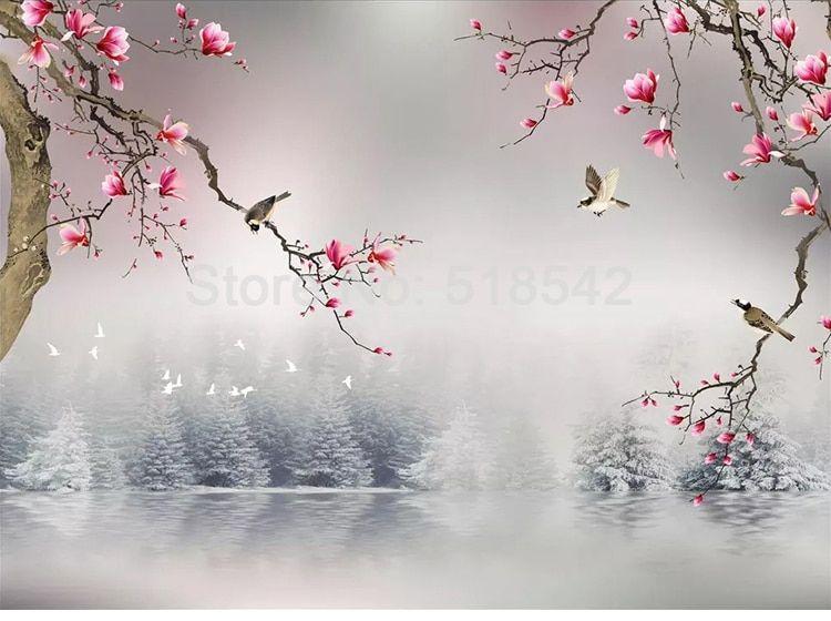 Papel de parede foto customizada 3d, estilo chinês, magnólia, flor, pássaros, sala de estar, quarto, papel de parede, decoração de casa