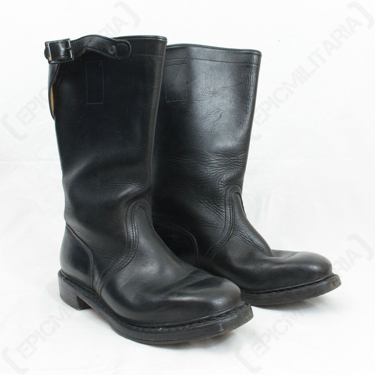 Short Leather Jack Boot with Buckle Front