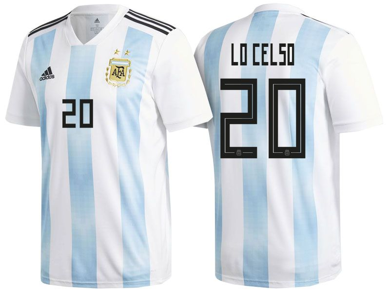 on sale 7d9fe eb8a8 Men's Argentina Midfielder #20 Giovani Lo Celso 2018 World ...