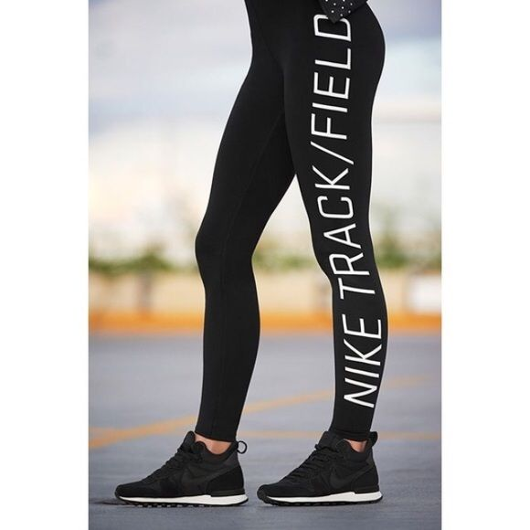 Nike Track and Field leggings The Nike Track and Field graphic women's leggings are made sweat wicking stretch fabric and vibrant print details for a soft, contoured feel and bold style.  Women's size Medium.  NEW with tags. Nike Pants Leggings