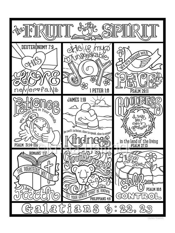 The Fruit Of The Spirit Coloring Page In Three Sizes 8 5x11 Etsy Fruit Of The Spirit Bible Coloring Pages Bible Coloring