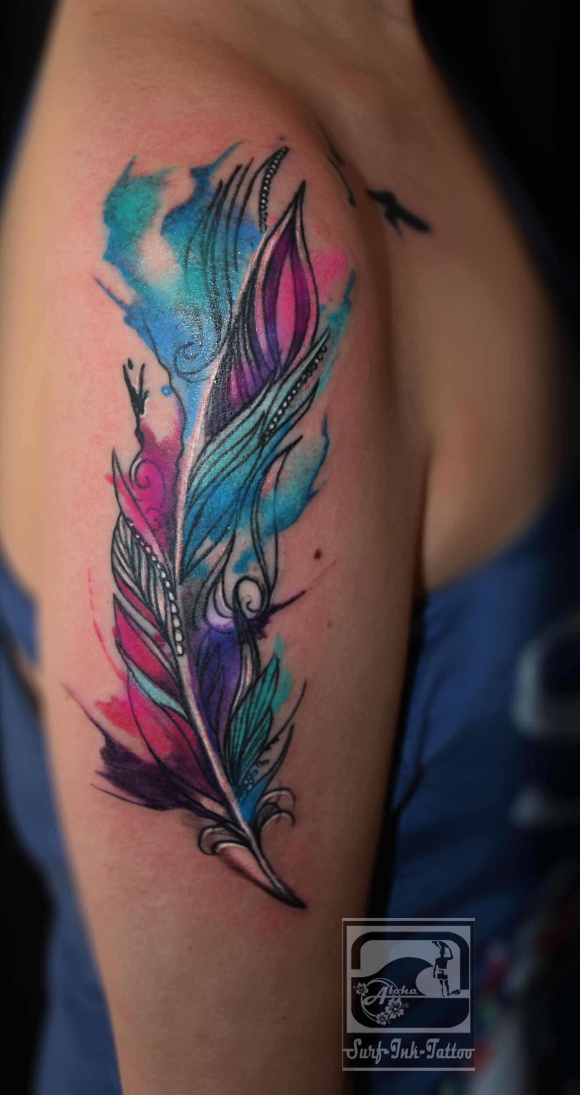 Faszinierend Feder Tattoo Unterarm Das Beste Von Watercolour Feder, Watercolour Tattoo,watercolor Tattoo, Aquarell Tattoo,