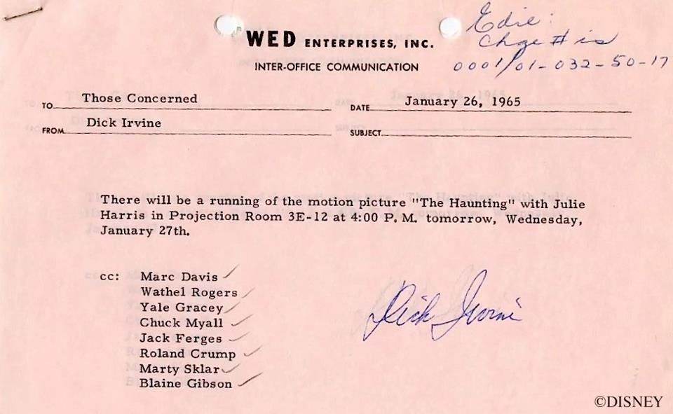 This Month in Disney Parks History - October Disney parks, Walt - inter office communication