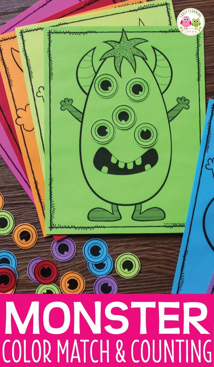 Monster Color Matching and Counting Activity: Halloween Math ...