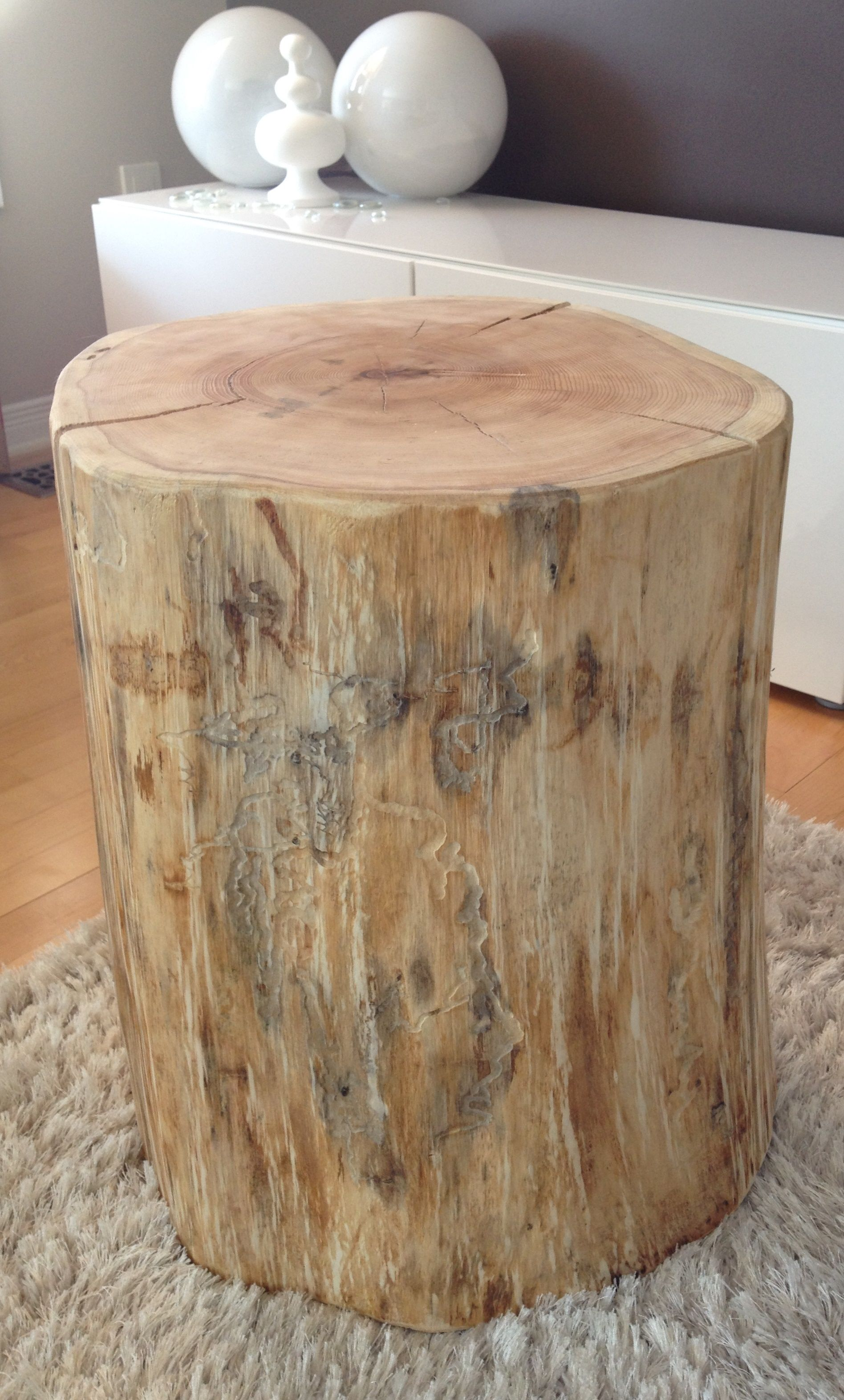 Stump Side Tables All Different Shades From White Washed Stump Tables To Walnut Stump Side Tables Serenit With Images Stump Table Wood Stump Side Table Tree Stump Table