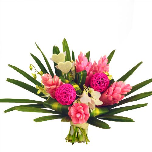f te des m res bouquet de fleurs exotiques merci maman. Black Bedroom Furniture Sets. Home Design Ideas