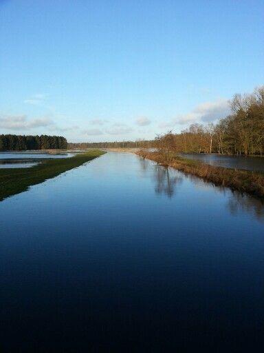 Land unter Stör Wasser Fluss Wintertag draußen Sonne