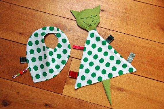 Bear / bunny / cat lovey + drooling bib gift set /security blanket, comfort toy, bandana