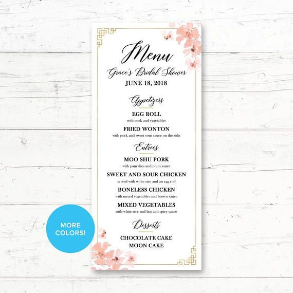 Chinese Wedding Food Menu: Chinese, Printable, Menu Card, Wedding, Bridal Shower