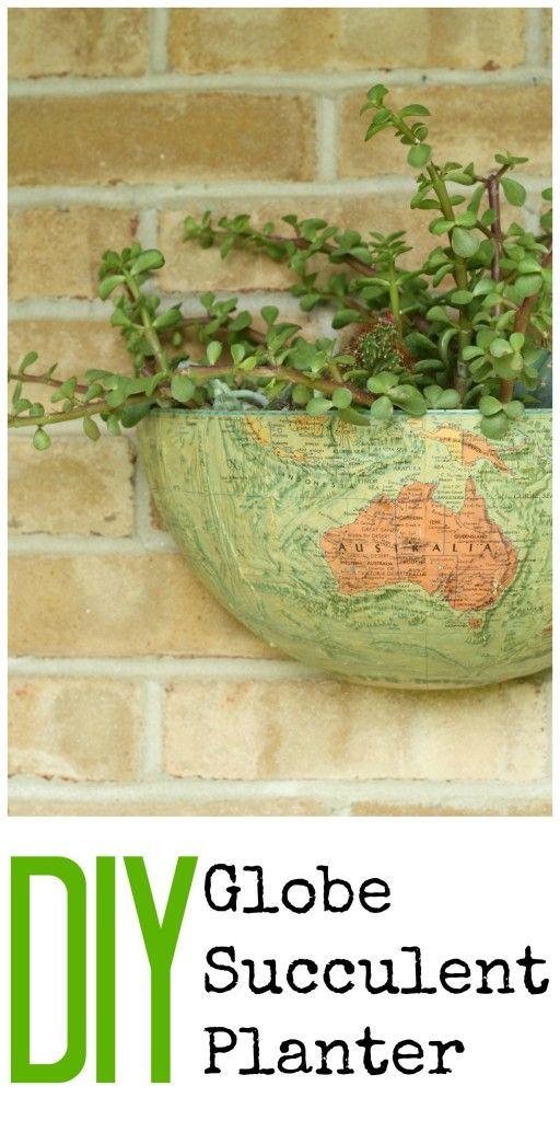 DIY Vintage Globe Succulent Planter | Pinterest | Planters, Globe ...
