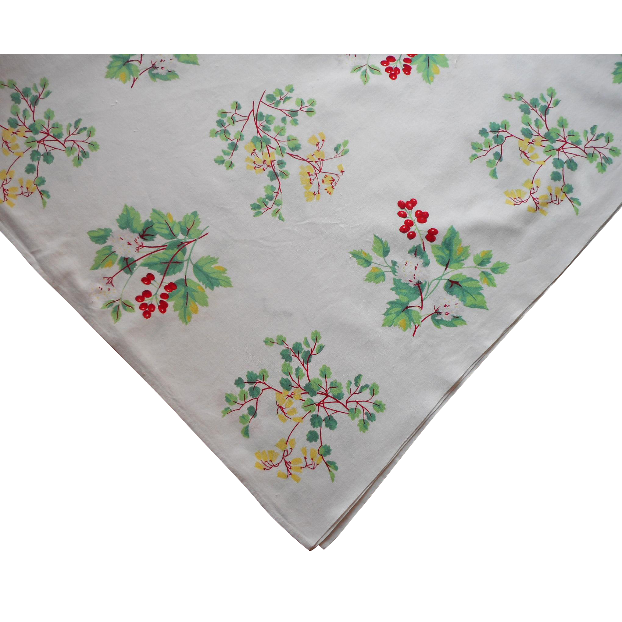Vintage Tablecloth Print Printed Kitchen Flowering Shrubs Berries ...