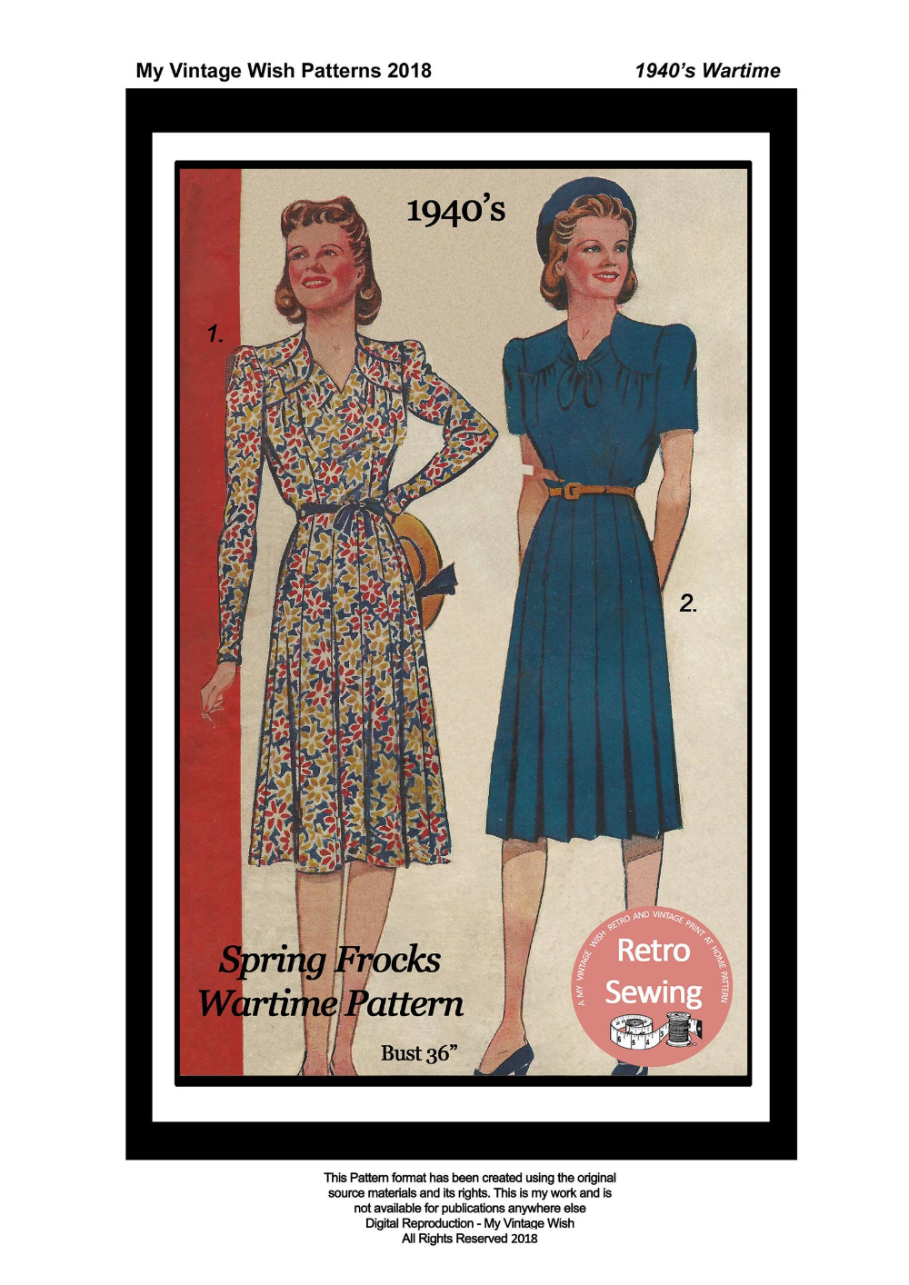 1940 S Afternoon Tea Frock Wartime Pdf Print At Home Etsy In 2021 1940s Tea Dress Sewing Patterns Forties Fashion