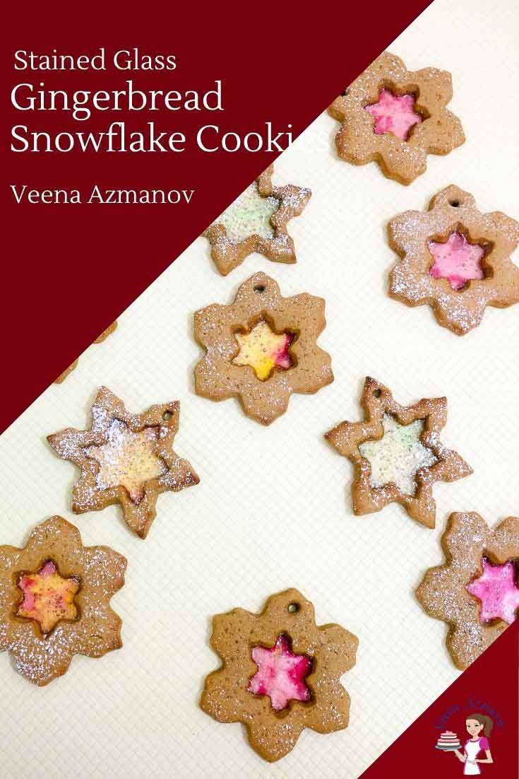 Gingerbread Snowflake Cookies - Veena Azmanov #cinnamonsugarcookies