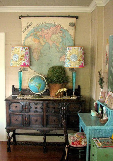Living Room Travel Theme Thrift Store Decor Store Decor Eclectic Design