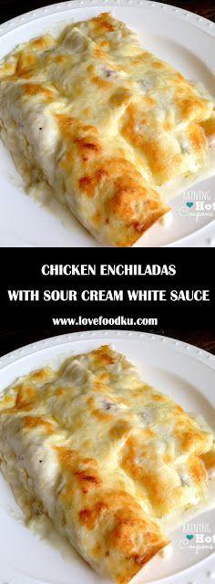 Chicken Enchiladas with Sour Cream White sauce | Family Recipes #chicken #chickenrecipes #chickenfoodrecipes #sourcream