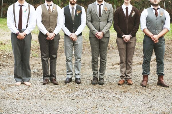Mismatched groomsmen. Mismatched bridesmaids. Short wedding dress. Homemade boutonnieres and bouquets.