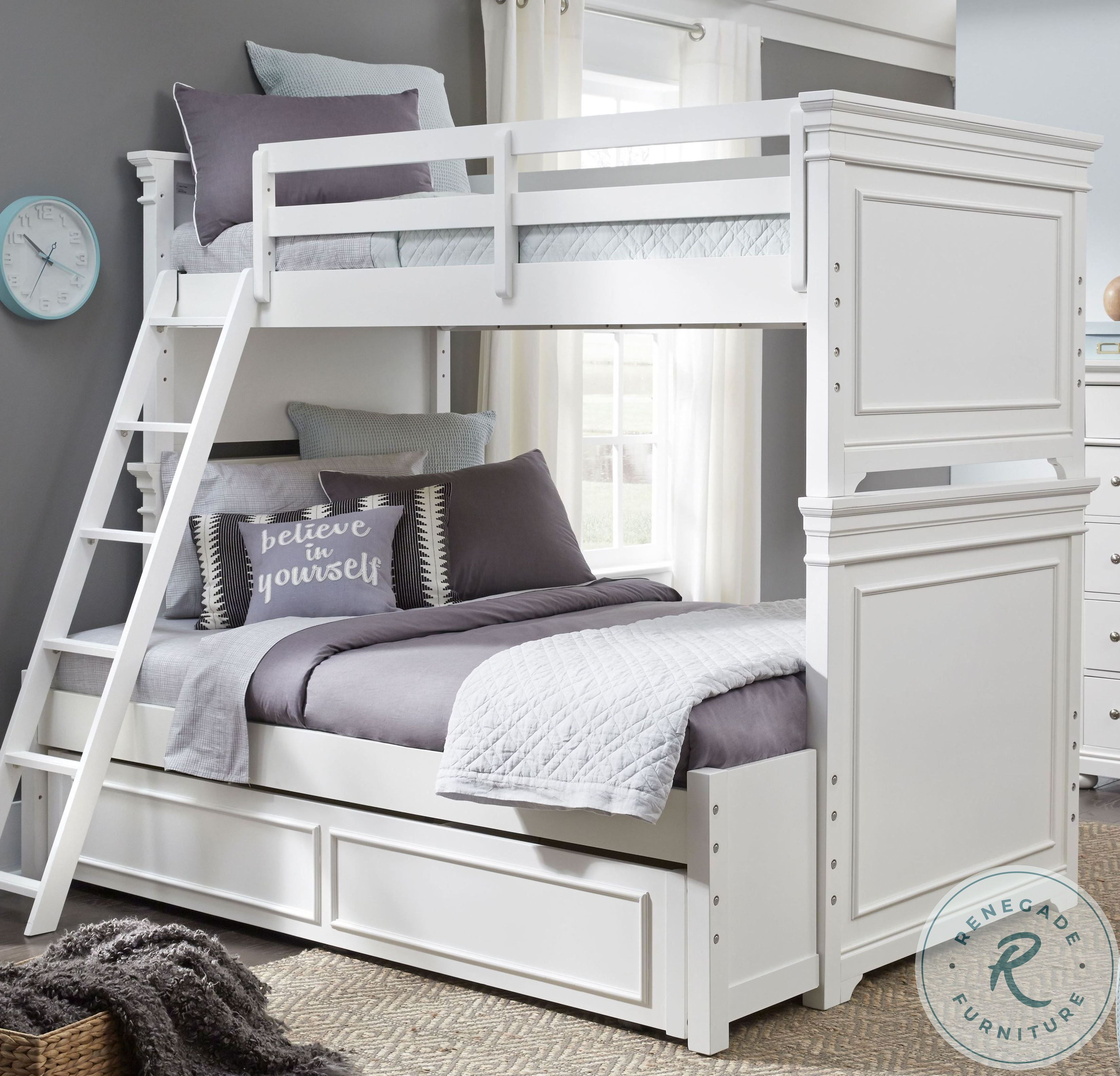 Hargrave Full Over Full Bunk Bed With Trundle Bunk Beds With Stairs Kids Bunk Beds Cool Bunk Beds
