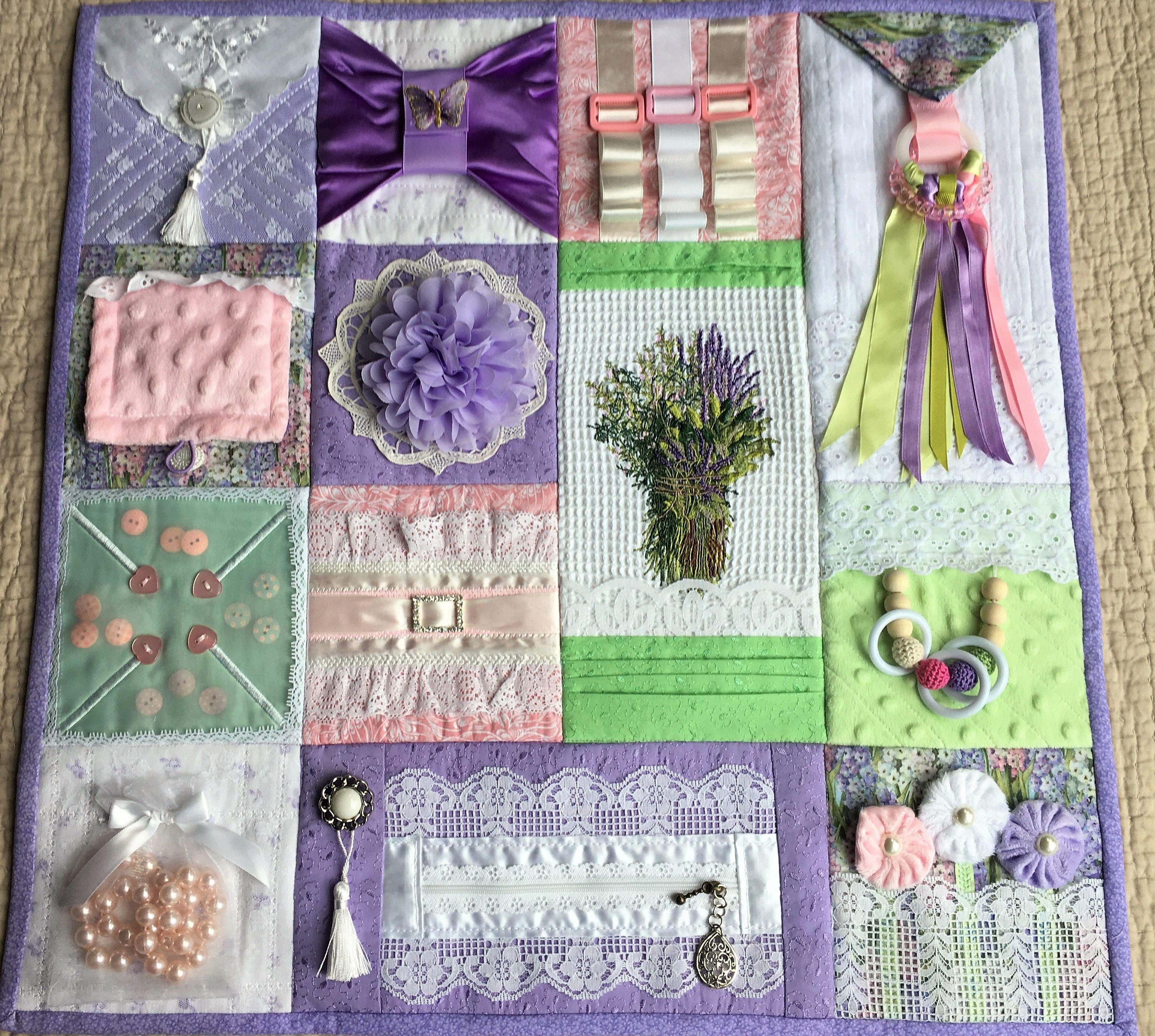 Quilting Slider Mat: Lavender & Lace Fidget Quilt. Activities: Pearl Necklace