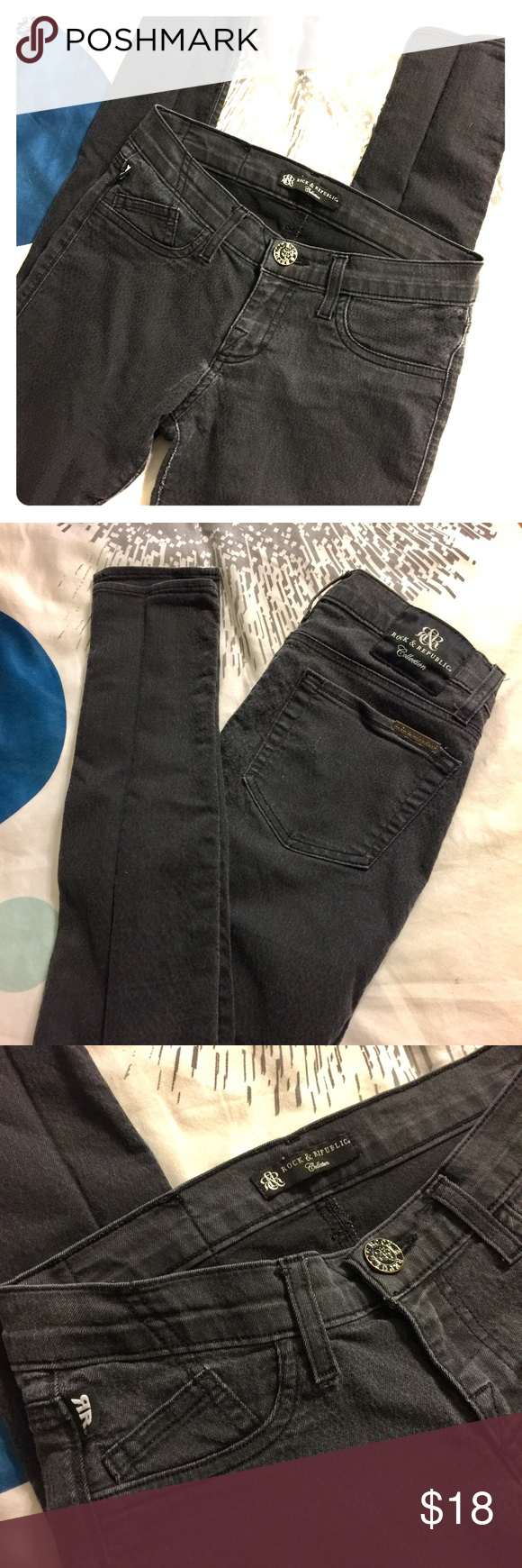 "Rock & Republic 🎸skinnies Skinny stretch Rock & Republic skinny legging jeans. Washed black, 5 pocket, 30"" inseam. Size EU 25/US 0. Rock & Republic Jeans Skinny"