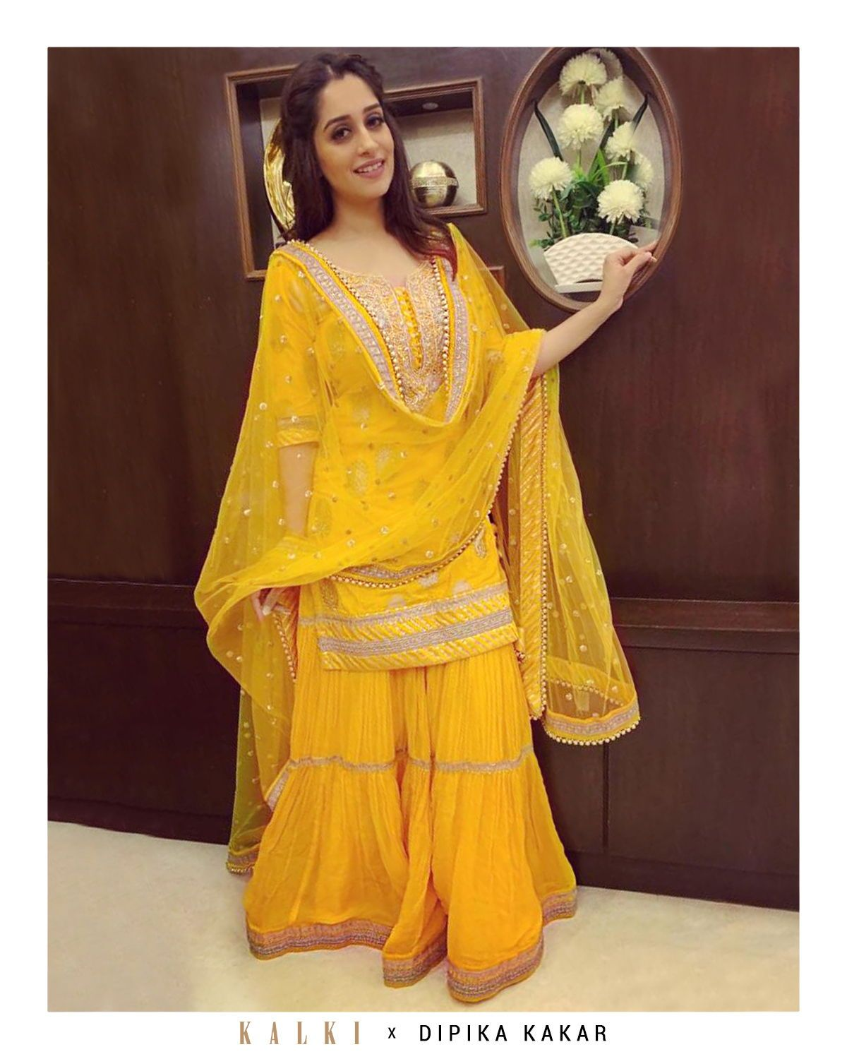 #KALKICelebThe #bigboss12 winner and our super favorite @ms.dipika in this stunning @kalkifashion outfit is how you would want to look like at the next wedding you attend. With a short sequins embroidered kurti and matching dupatta with a thick border, this yellow sharara suit is heavy on style and light in weight. #shararadesigns