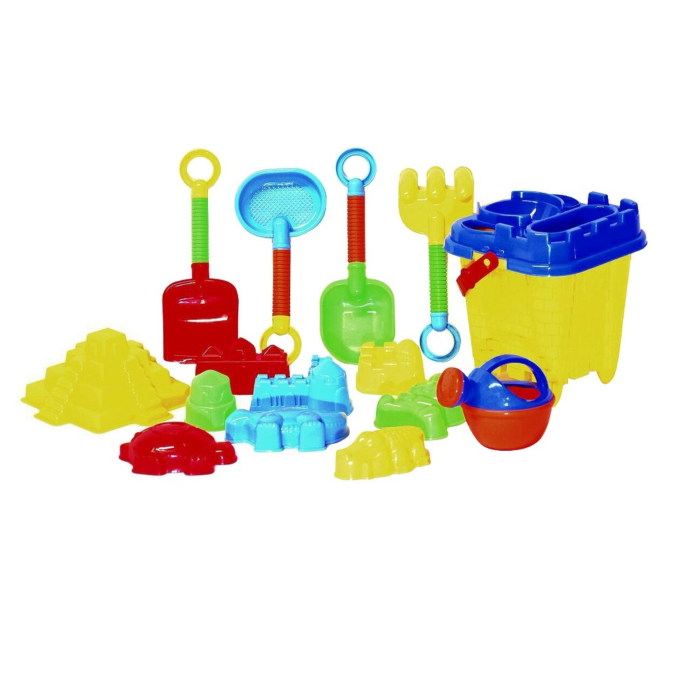 Take it to the beach! Castle Sand Bucket with Bright coloured accessories
