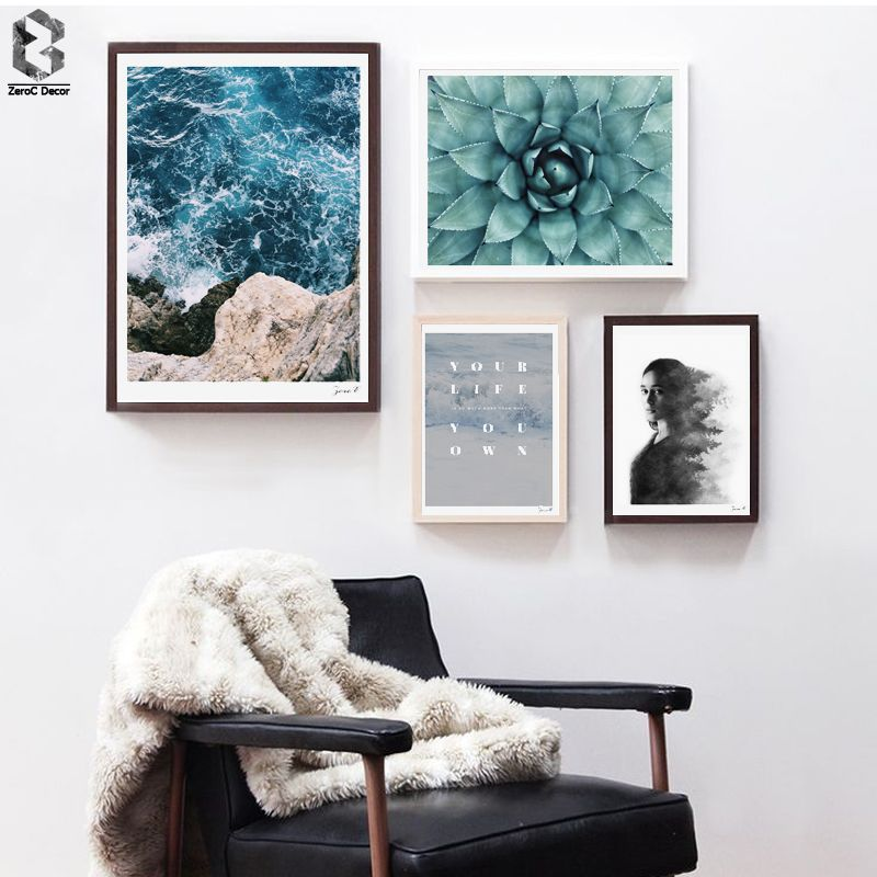 Nordic seascape minimalist canvas art print poster quotes wall paintings for living room decor cactus home decoration
