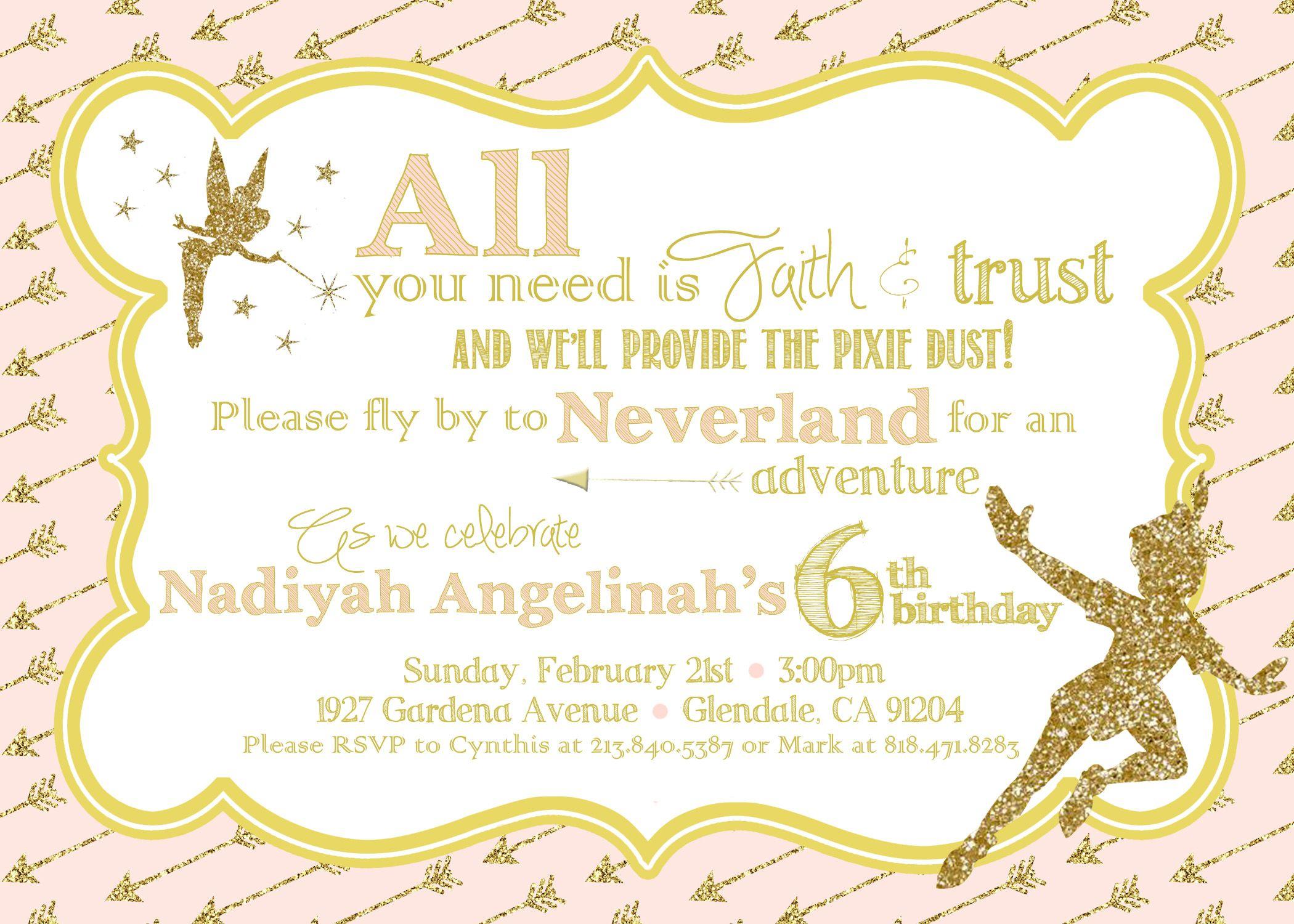 Peter Pan Birthday invitation Pink & Gold sparkle & glitter ...