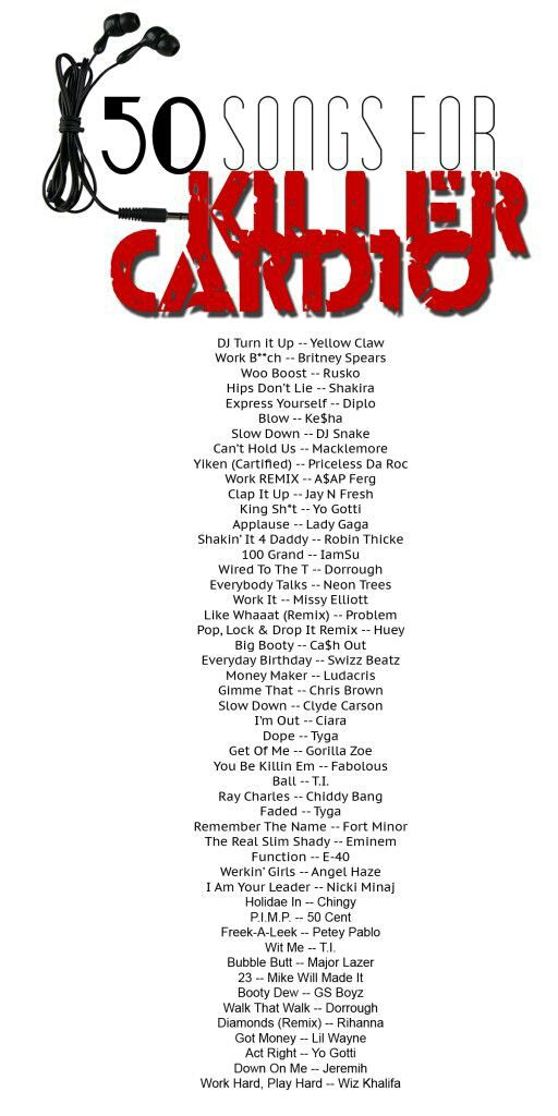 50 songs for a killer cardio session