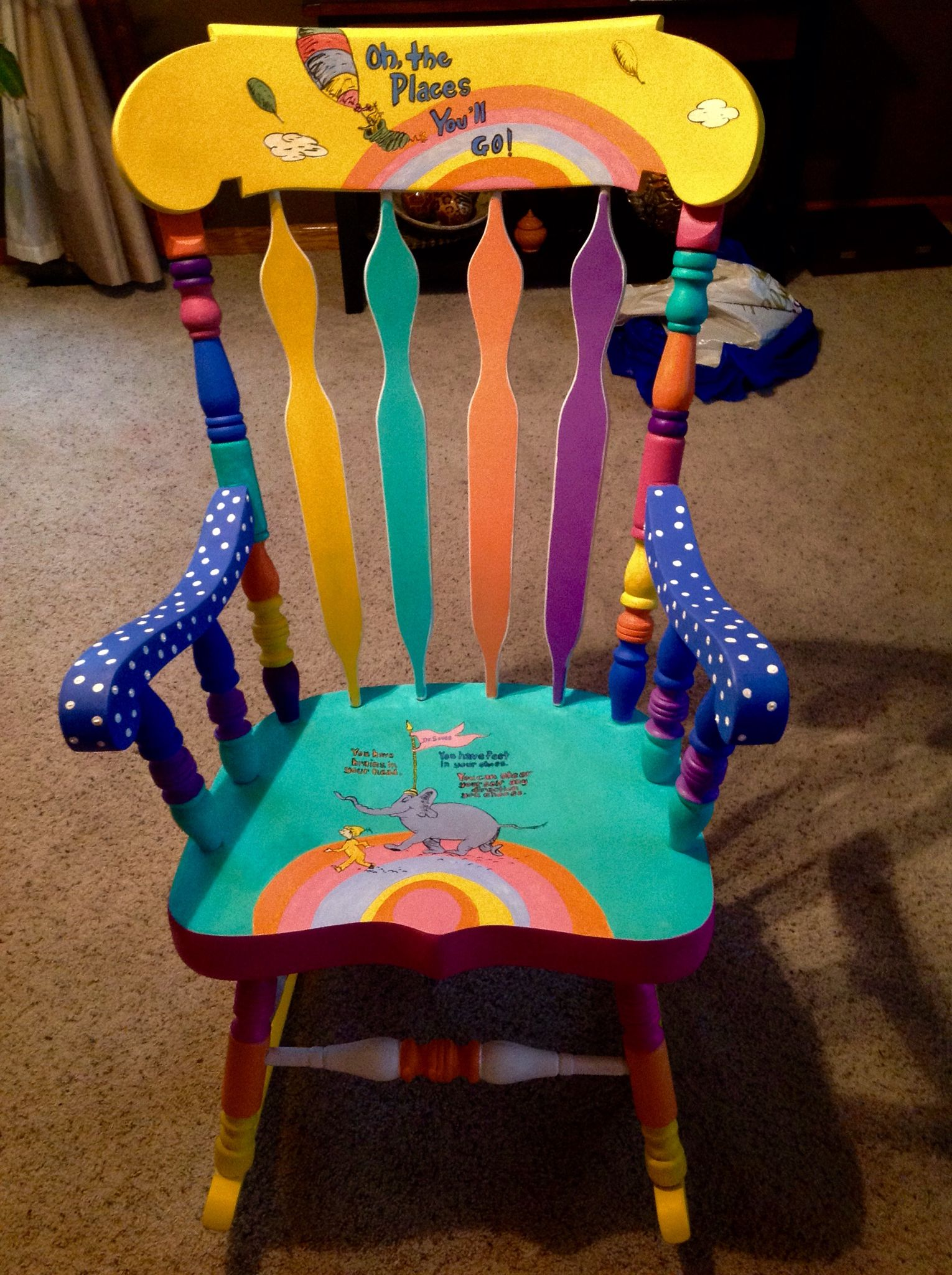 Dr Seuss painted chair