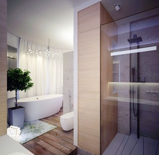 Apartment leks architects kiev apartment elemental bathroom with contrasting grains of wood and modern shower amazing worldly apartment in kiev ukraine
