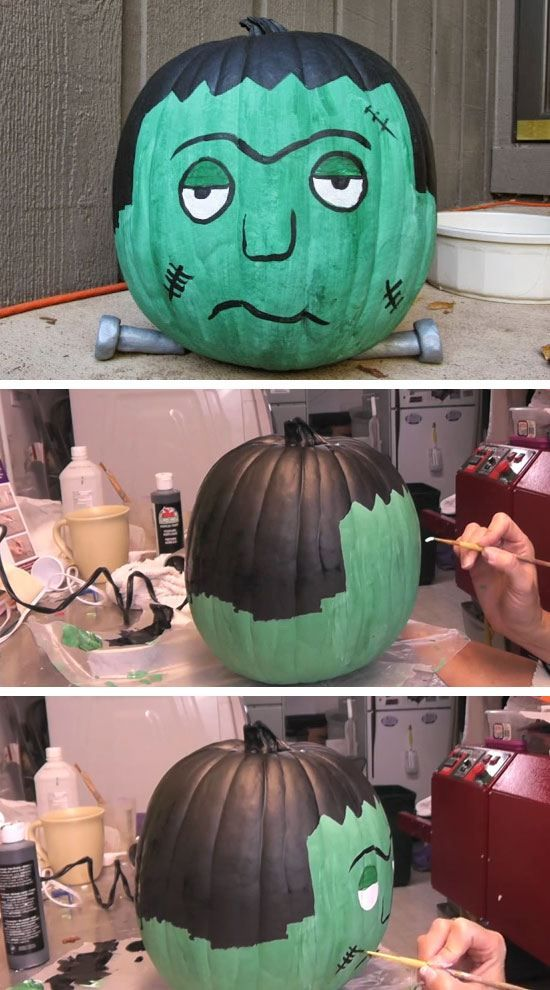 28 DIY Halloween Party Ideas for Kids Frankenstein pumpkin - kids halloween party decoration ideas