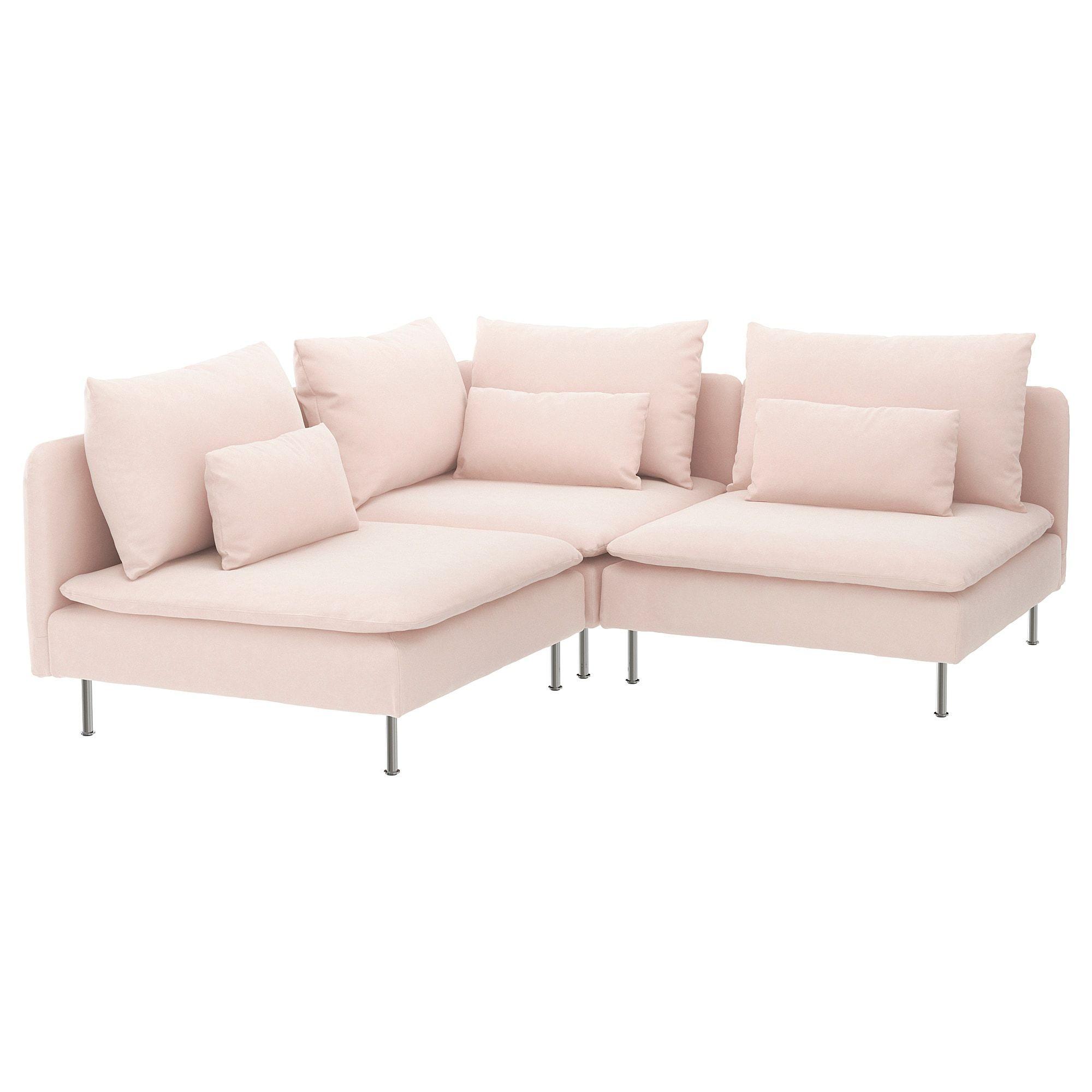 Soderhamn Sectional 3 Seat Corner Samsta Light Pink In 2020 Sofa Pink Couch Corner Sofa