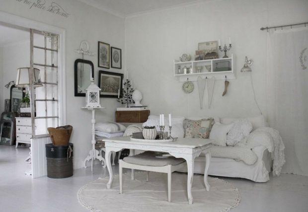 Shabby Chic Wohnzimmer einrichten alte Möbel neu weiß white