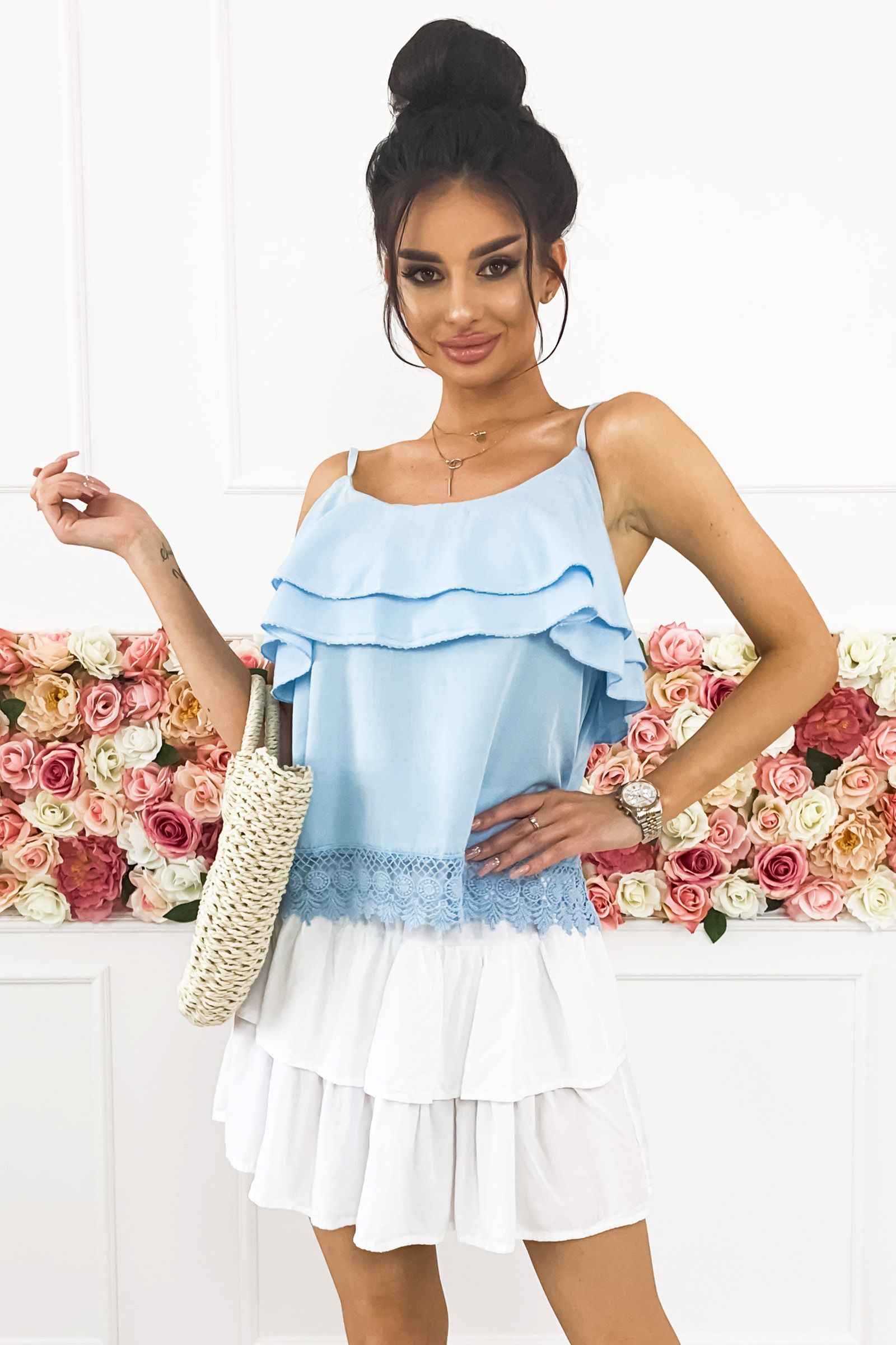 Bluzka Na Ramiaczkach Niebieska Cold Shoulder Dress Dresses Fashion