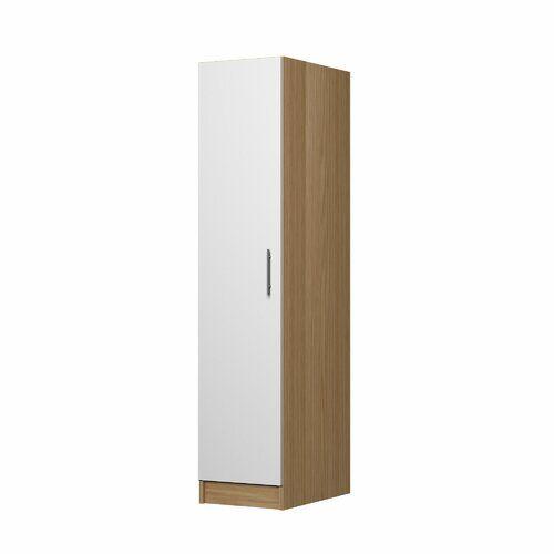 Mapleview 1 Door Wardrobe 17 Stories Colour Oak White Mirrored Wardrobe 3 Door Sliding Wardrobe Tall Cabinet Storage
