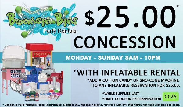 Receive A Concession For 25 00 When You Rent Any Inflatable In The Tri Cities Washington Area Party Rentals Kids Playground Inflatable Rentals