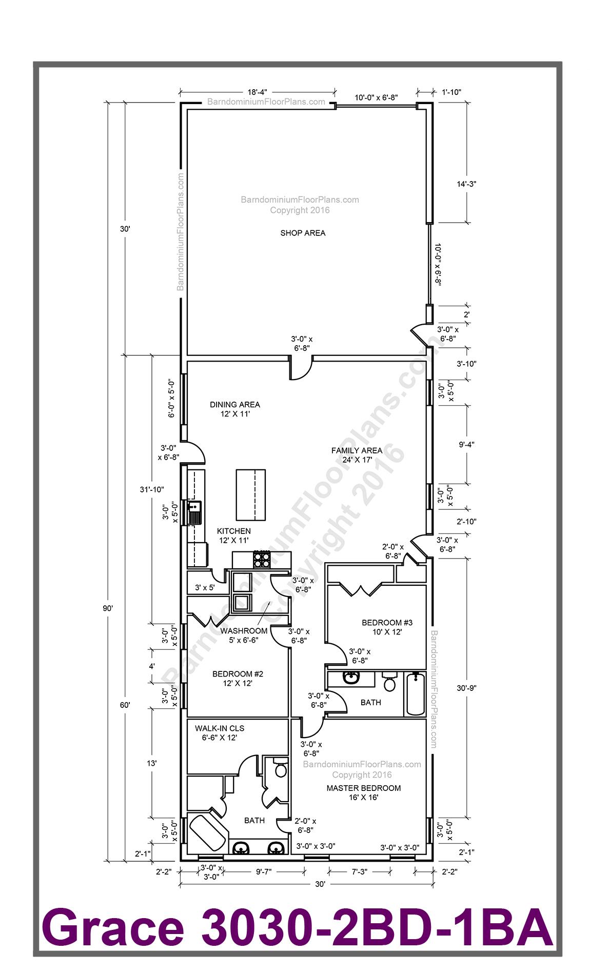 Grace 3 bedroom 2 for 3 bedroom barndominium floor plans