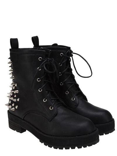 Rivets Punk Rock Style Black Boots  37fac5b468