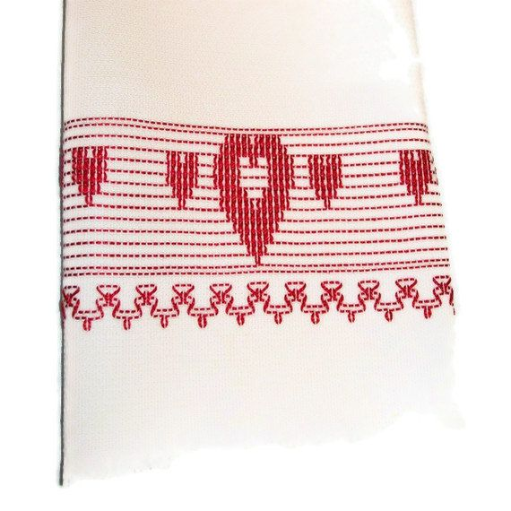Kitchen Towel Swedish Weaving Huck Red Hearts by CanDoStitching ...