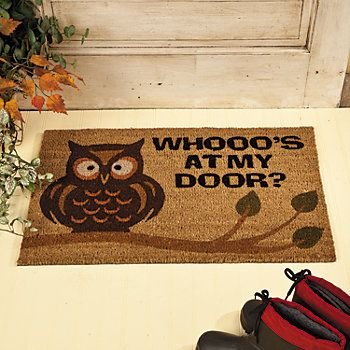 Owl Home Decor Welcome Mat Rugs And Window Treatments Terry S