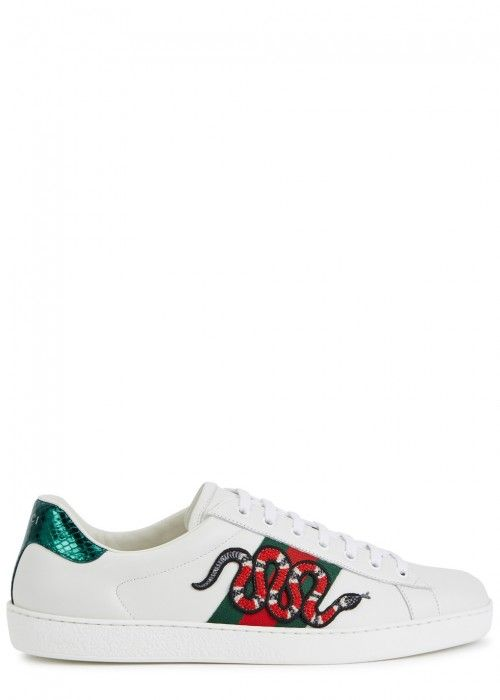 321939c252cb GUCCI ACE SNAKE-APPLIQUÉD LEATHER TRAINERS.  gucci  shoes     Outfit ...