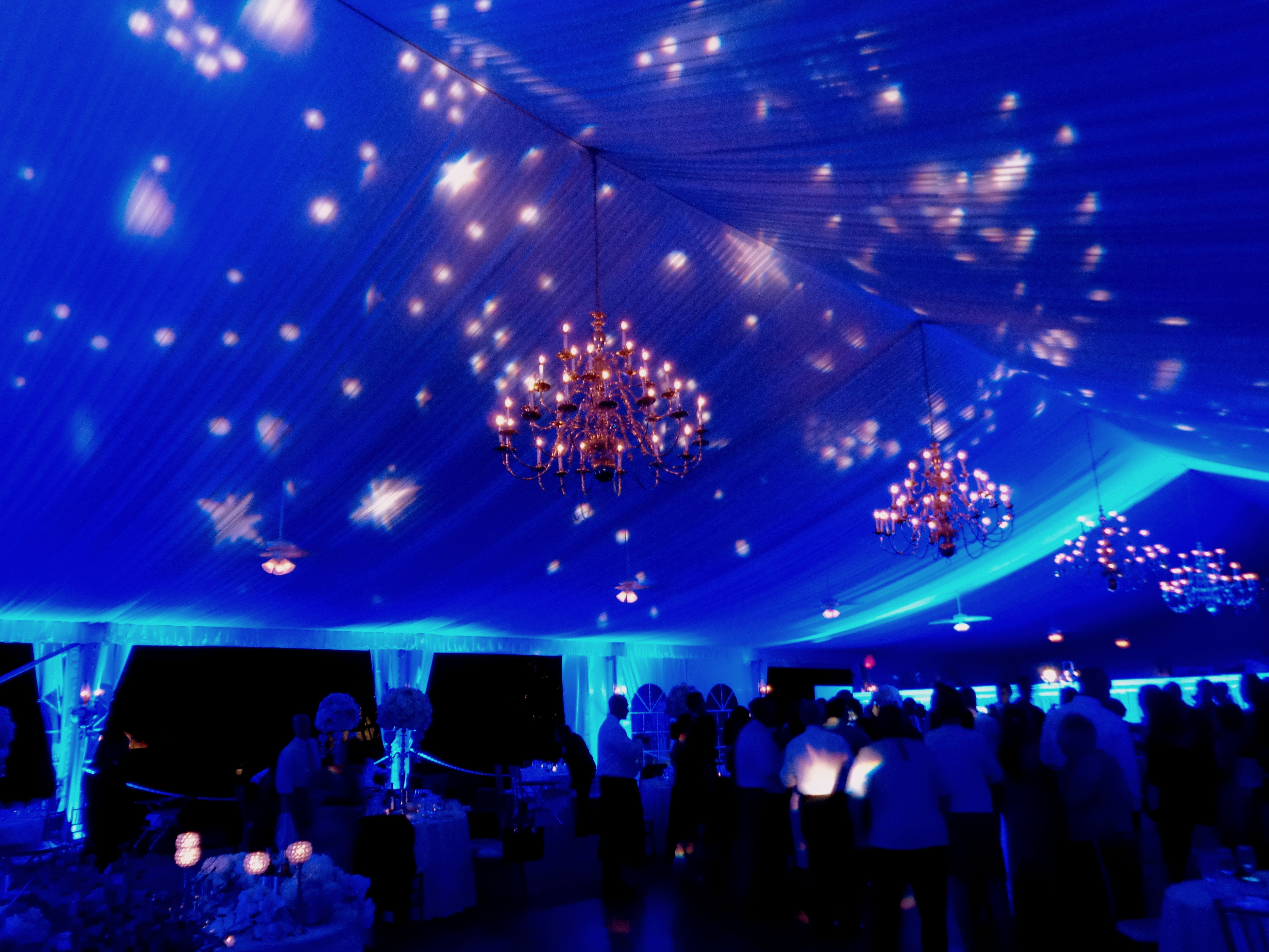 Night linight light outdoors - Starry Night Ceiling Projections With Blue Lighting In The Grandview Outdoor Ballroom By Hourglasslighting