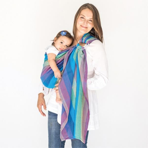 HUG-A-BUB - ORGANIC TRADITIONAL RING SLING - BONDI BLUES MESH