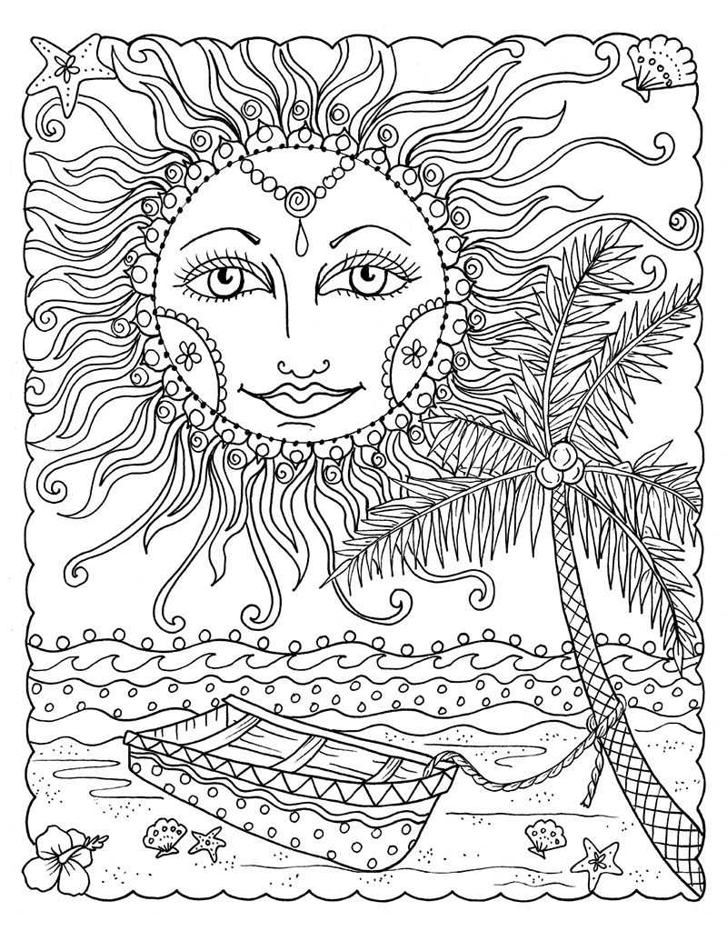 Zendoodle Coloring Tropical Paradise Summer coloring